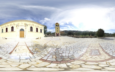 360 panoramic photo of Panagia Keriotissa at Keri Zakynthos.